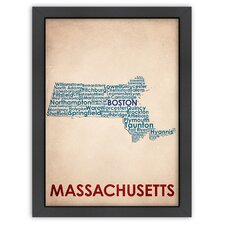 Typography Maps Massachusetts Poster