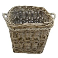 Square Log Basket with Rope Handles