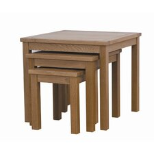 Cubic Oak 3 Piece Nest of Tables (Set of 3)