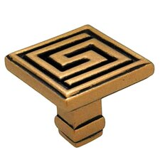 "Greek Key Olympia Greek Distressed Key 1.25"" Square Knob"