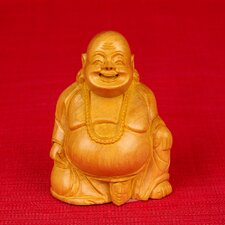 Wood Carvings Laughing Buddha Sitting Figurine