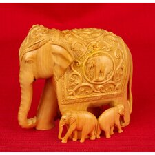 Wood Carving Elephant with Family Figurine