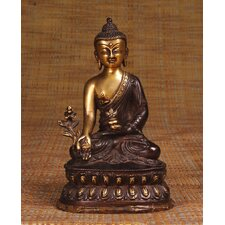 Brass Series Buddha with Medicine Bowl on Lotus Figurine