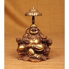 Brass Series Laughing Buddha Sitting on Chair with Umbrella Figurine