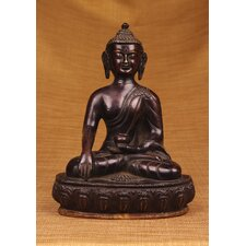 <strong>Miami Mumbai</strong> Brass Series Buddha Sitting on Throne Figurine