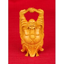 Wood Carvings Laughing Standing Buddha Figurine
