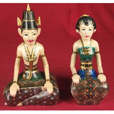 2 Piece Wood Carvings Balinese Couple Figurine Set