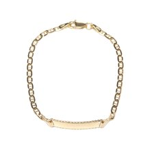 <strong>Jewelryweb</strong> 14K Lobster Claw Engraveable Anchor Baby Child ID Bracelet