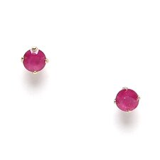 <strong>Jewelryweb</strong> 14k White Gold Ruby Stud Earrings