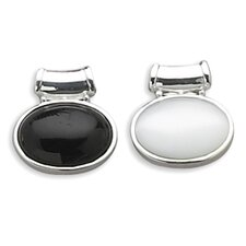 Sterling Silver Reversible Oval Black Onyx White Glass Cats Eye Slide Height Is 26mmCharm