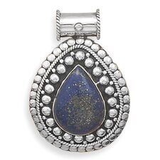 <strong>Jewelryweb</strong> Sterling Silver Oxidized Bead Design Slide With Lapis Stone Center Charm