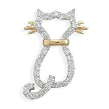 <strong>Jewelryweb</strong> Rhodium Plated Ster. Silver CZ Cat Slide 14 Karat Gold Plated Sterling Silver Whiskers Collar Charm