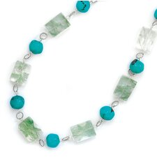 Sterling Silver 16 Inch+2 InchExtention Green Quartz and Turquoise Necklace