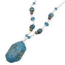 Sterling Silver 16 Inch+1 Inch Necklace Dyed Blue Lace Agate Freshwater Cultured Pearl swarovski Crystal