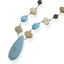 16 Inch+2 InchExtention Yellow Opal Dyed Magnesite and Smoky Quartz Necklace
