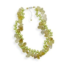 Sterling Silver 16 Inch+2 InchExtention Citrine and Green Freshwater Cultured Pearl Twist Necklace