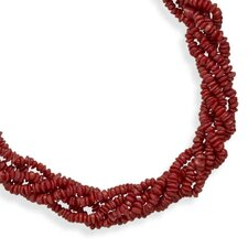 16 In+2 InchExtention Multi Strand Coral Neck 16 Inch+ 2 Inch 5 Strand Rd Coral Chip Necklace