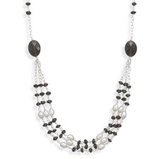 Sterling Silver 18 InchSmoky Quartz and Cultured Freshwater Pearl Necklace