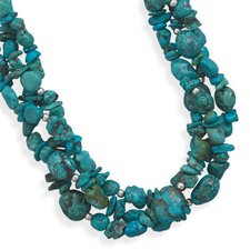 Sterling Silver 17 Inch+ 2 InchMultistrand Turquoise Necklace