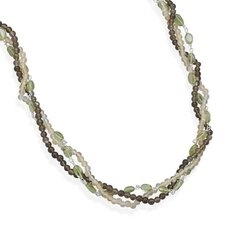 Sterling Silver 16 Inch+ 2 InchMultistrand Multistone Necklace
