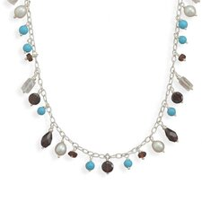 Sterling Silver 18 InchTurquoise and Multistone Necklace