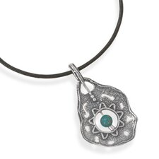 18 InchBlack Leather Necklace An Oxidized Ornate Sterling Silver PendantWith a 6mmTurquoise Bead