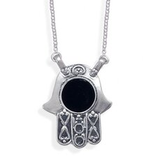 16 InchSterling Silver Link Necklace and Hamsa With Black Onyx Pendant