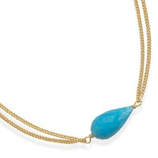 16 Inch+2 InchDouble Strand 14 Karat Gold Plated And Turquoise Necklace