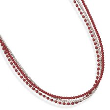 16 Inch+2 InchTriple Strand Sterling Silver Coral Necklace 16 Inch+ 2 InchTriple Strand Necklace