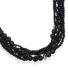 Sterling Silver 18 Inch+3 InchMultistrand Black Onyx And Glass Bead Necklace - 18 Inch