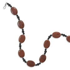 21 InchSterling Necklace 21mmX 29mmCarnelian Beads 6mmBlack Onyx 8mmBlack Onyx Beads - 21 Inch