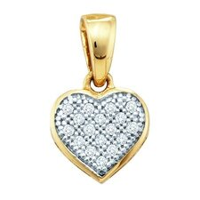 10k White Gold 0.05 Dwt Diamond Heart Pendant