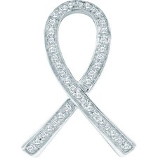 <strong>Jewelryweb</strong> 10k White Gold 0.10 Dwt Diamond Micro Pave Set Ependant