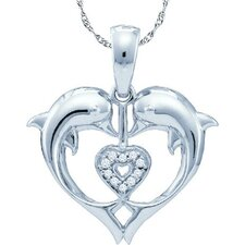 10k White Gold 0.03 Dwt Diamond Dolphin Pendant