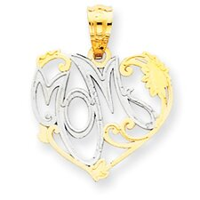<strong>Jewelryweb</strong> 14k and Rhodium Mom Pendant