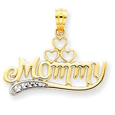 14k and Rhodium Mommy Pendant- Measures 19.4x23.1mm