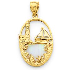 14K Created Opal Lighthouse and Sailboat Pendant