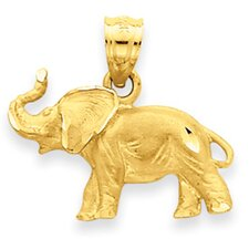 <strong>Jewelryweb</strong> 14K Diamond-Cut Elephant Pendant