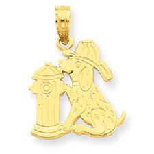 <strong>Jewelryweb</strong> 14k Fire Hydrant and Dog Pendant