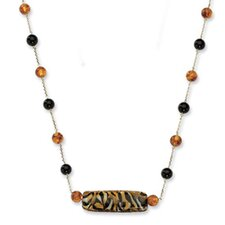 14k Murano Glass Bead Amber and Onyx Necklace - 18 Inch