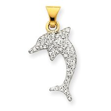 14k Reversible Crystal Dolphin Pendant