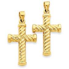 14k Reversible Diamond-Cut Cross Pendant- Measures 33.5x40.5mm