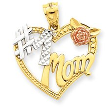 14k Two-tone and Rhodium Number 1 Mom Heart Pendant