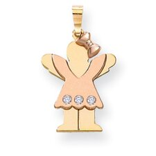 14k Two-Tone Diamond Kid Pendant