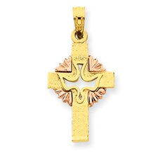 14k Two-tone Dove Cross Pendant- Measures 25.5x12.5mm