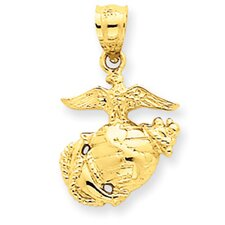 14K US Marine Corps Pendant- Measures 23.4x14.1mm