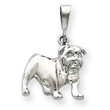 14k White Gold Bulldog Pendant- Measures 28.7x19.6mm