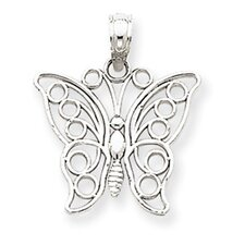 14k White Gold Cut-Out Butterfly Pendant- Measures 20.2x16.8mm