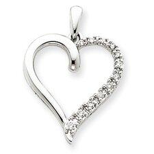 14k White Gold Diamond Heart Pendant- Measures 18.1x24.8mm