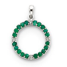 14k White Gold Emerald and Diamond Circle Pendant